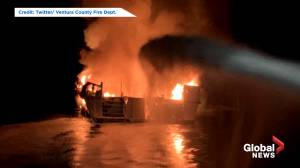 U.S. Coast Guard working to rescue occupants from burning boat in California