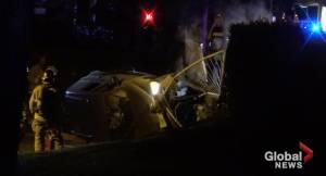 Vehicle crashes into Peterborough bus shelter, retaining wall along Park Street (00:38)