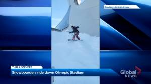 'Very Montreal': Snowboarders caught riding down the Olympic Stadium (00:23)