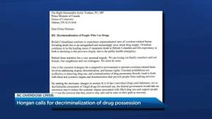 B.C. premier calls on federal government for decriminalization of drug possession