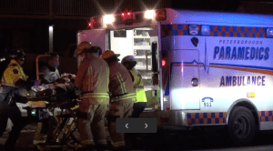 Pedestrian struck by vehicle on George St. in Peterborough (01:04)