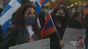 Armenian Montrealers protest in front of Montreal City Hall