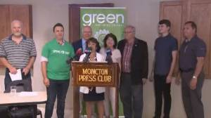 Former N.B. NDP members don Green Party shirts to show newfound support