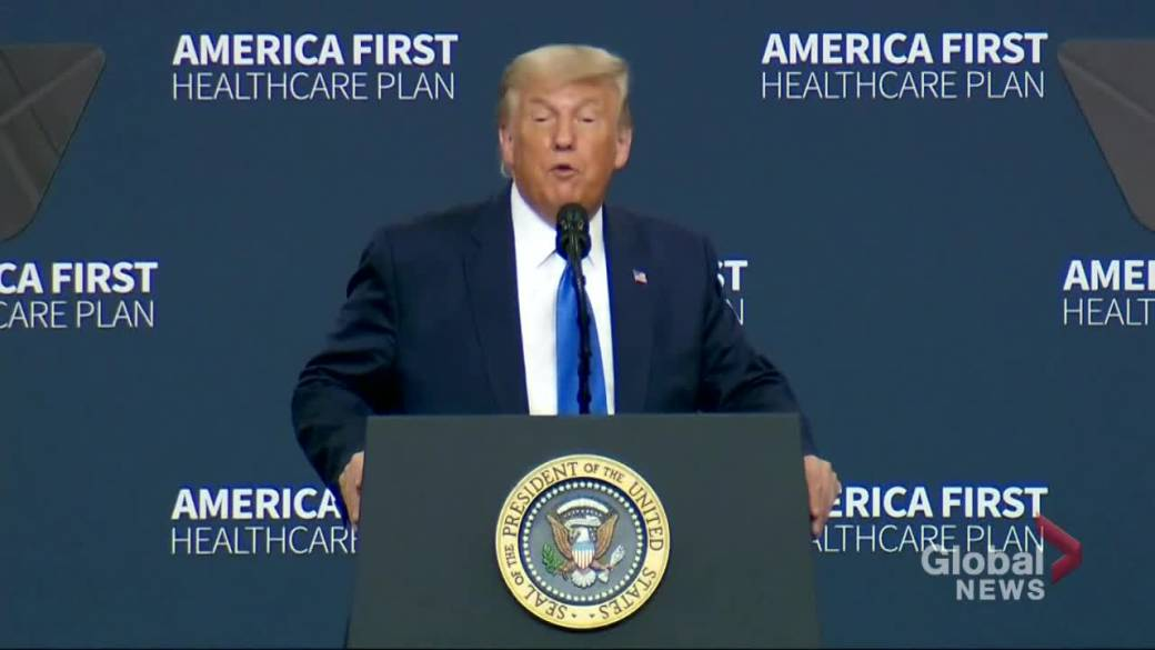 Click to play video 'President Donald Trump outlines his new America First Healthcare Plan'