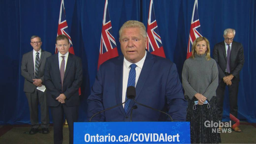 Click to play video 'Coronavirus: Ontario tightens public health measures, targets hot spots in Toronto, Peel Region and Ottawa'
