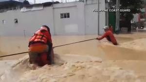 Emergency responders work to rescue people impacted by typhoon Vamco in Philippines (02:54)