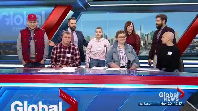 Special guests from Kids With Cancer Society become Global Edmonton reporters