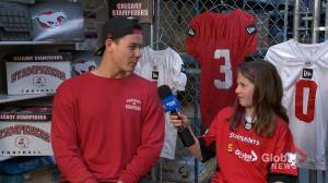 Junior Reporter Siena interviews Stampeders' long snapper Pierre-Luc Caron