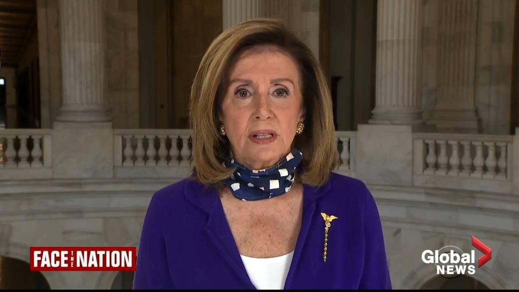 Click to play video 'Coronavirus: Pelosi says she prays for Trump, wife Melania following COVID-19 diagnosis'