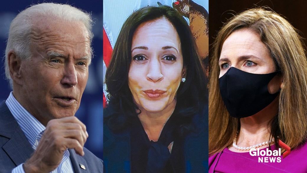 Click to play video ''Illegitimate committee process': Biden, Harris target Trump Supreme Court nominee Amy Coney Barrett'