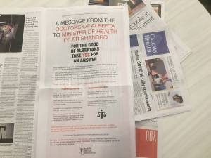 Alberta doctors take out ads in hopes of reaching agreement with UCP government
