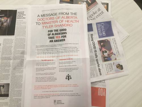 Alberta doctors take out ads in hopes of reaching agreement with UCP government | Watch News Videos Online