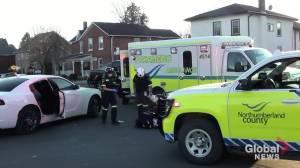 Pedestrian struck by car in Cobourg (00:34)