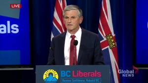 B.C. election 2020: Liberal Leader Wilkinson stresses importance of democracy amid projected loss to NDP (00:30)