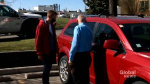 Alberta auto community rallying after B.C. driver gets tires slashed, car keyed (01:46)