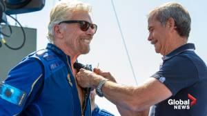 Virgin Galactic's Richard Branson beats out rival billionaire Jeff Bezos, reaches the stars (02:07)