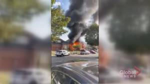Video appears to show vehicle driving into Pickering house, accused lighting vehicle on fire (03:13)