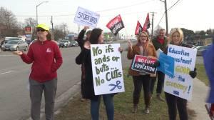 Limestone School board teachers begin work to rule with information picket