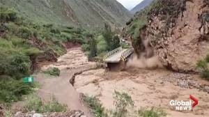 Dramatic video catches bridge collapse amid raging flood waters in Peru
