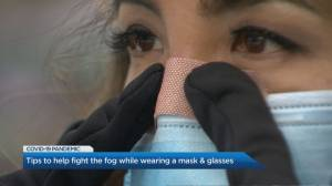 Are your glasses fogging up when you wear masks? Try this (02:03)