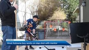Coronavirus: West Kelowna boy works on slapshot virtually with former Kelowna Chiefs player
