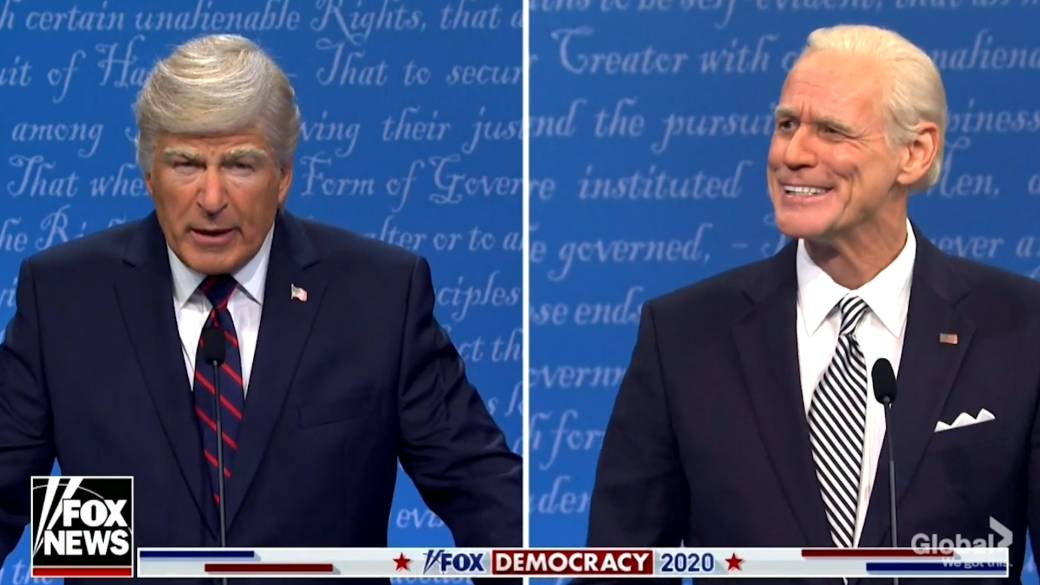 Click to play video 'SNL opens with Trump, Biden debate spoof in season 46 opener'