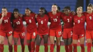 Pioneering soccer star Carrie Serwetnyk reacts to Canada's Olympic gold win (02:49)