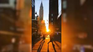 'Manhattanhenge' sunrise dazzles onlookers in New York City
