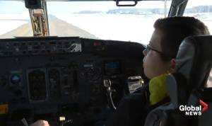 Edmonton boy battling 2nd brain tumour becomes pilot for a day with Flair Airlines