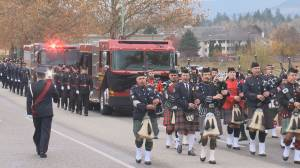 A Kelowna fire captain is laid to rest after an active line-of-duty service.  Joe Kolar died from a cancer that was linked to his firefighting job