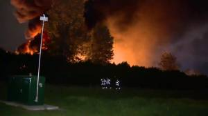 Flames scorch recycling facility in Queensborough area of New Westminster (01:00)