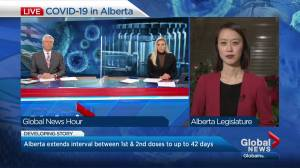 Alberta extends COVID-19 vaccine timeline for 2nd dose to 42 days with possible, improves contact tracing (03:30)