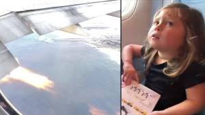 Flames shoot from jet engine as dad films daughter's reaction to takeoff