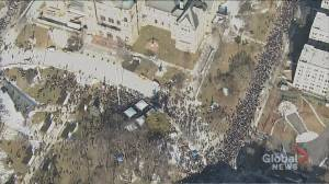 Aerial footage of massive teacher protest outside Queen's Park in Ontario-wide strike