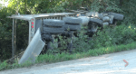 Dump truck crashes south of Peterborough