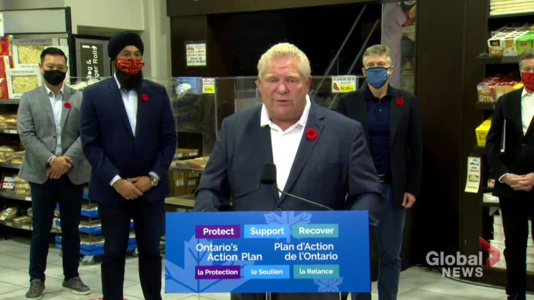 Click to play video 'Coronavirus: Ford 'can't rule out' possibility of future Ontario COVID-19 hotspot lockdowns'