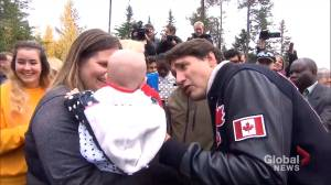 Federal Election 2019: Trudeau jokingly says crying baby 'jealous' of his eyebrows