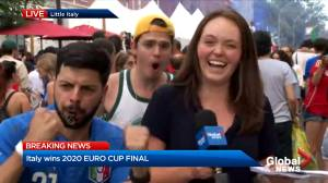Soccer fans fill Montreal terraces as Italy takes on England in Euro 2020 Cup final (02:09)