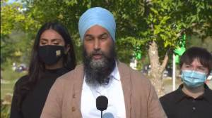 """Canada election: Singh criticizes Liberals' """"behaviour"""" of inaction towards sexual misconduct allegations (01:22)"""