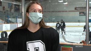 Edmonton player making history in female hockey league (02:02)