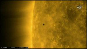 Mercury travels across sun in transit