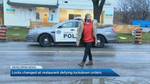 Locks changed at Etobicoke restaurant defying COVID-19 lockdown orders (02:01)