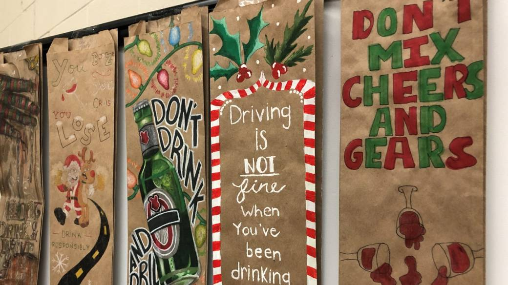 Durham students draw powerful drunk driving messages on LCBO bags for annual campaign