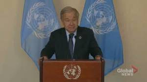 Guterres warns of COP26 failure if countries don't 'change course' on emissions (00:37)