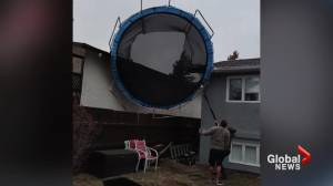 Lethbridge family finds trampoline on the roof during gusting winds Wednesday (01:45)