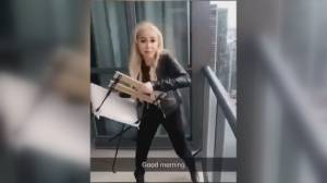 Woman who went viral for tossing chair off balcony has defence lawyer appear in court on her behalf