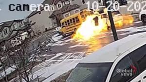 Explosive van fire caught on video in southeast Edmonton (02:18)