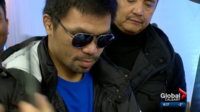 Click to play video: Legendary boxer Manny Pacquiao visits Calgary to promote his other passion