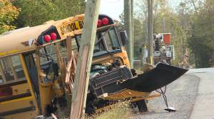 A school bus driver and a passenger,  uninjured after he hits a hyrdo pole in Odessa