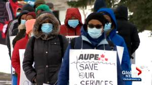 Health-care workers walk off the job in wildcat strikes across Alberta (03:10)